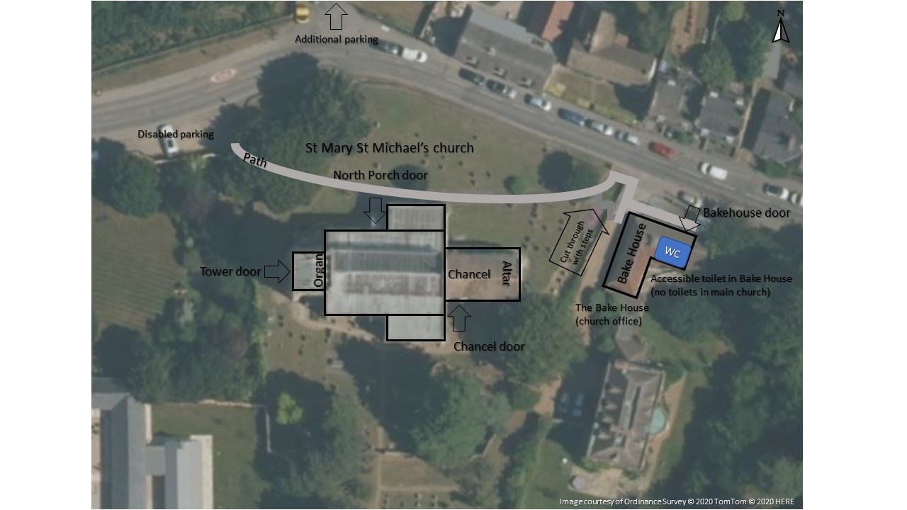 Annotated overhead image of St Mary and St Michael's church and Bakehouse (office)